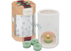Yankee Candle White Fir - Ojíněná jedle čajová svíčka 4 kusy + keramický svícen 1 kus, vánoční dárková sada