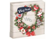 Big Soft Vánoční papírové ubrousky Věnec s ozdobami 33 x 33 cm 2 vrstvé 20 kusů