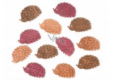 Ježci dřevění hnědo-oranžovo-růžoví 4 cm 12 kusů