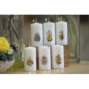 Lima Jarní motiv svíčka bílá válec 50 x 100 mm 1 kus
