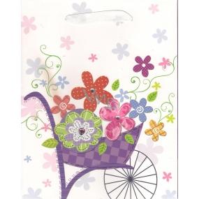 Nekupto Dárková papírová taška střední 23 x 18 x 9 cm mat aplikace květiny 1431 LBM