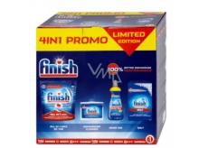 Finish 4in1 All in 1 Max tablety 815 g + Shine & Protect Lemon Sparkle leštidlo 400 ml + čistič myčky 250 ml + sůl do myčky 1,5 kg, balíček čistících prostředků