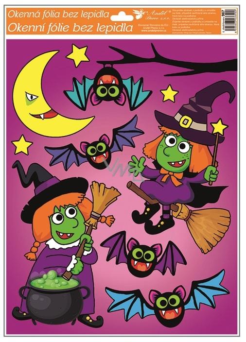 Window film with glitter 42x30 cm, Halloween witch 967 6490
