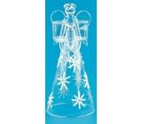 Anděl skleněný s vločkami na svíčku 24 cm