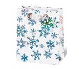 BSB Luxusní vánoční dárková papírová taška 36 x 26 x 14 cm Krystaly ledu VDT 404 - A5