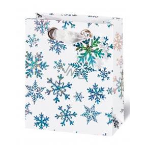 BSB Luxusní dárková papírová taška 36 x 26 x 14 cm Vánoční Krystaly ledu VDT 404 - A5