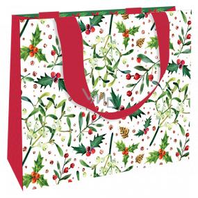 Nekupto Dárková papírová taška luxusní 23 x 18 cm Vánoční jmelí, cesmína WLFM 1993