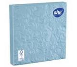 Aha Papírové ubrousky 3 vrstvé 33 x 33 cm 15 kusů Ražené světle modré