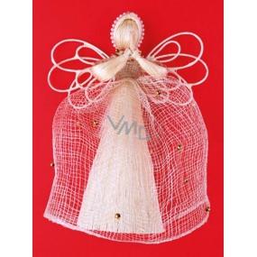 Andílek z banánovníku s drátěnými křídly a perličkami 20 cm