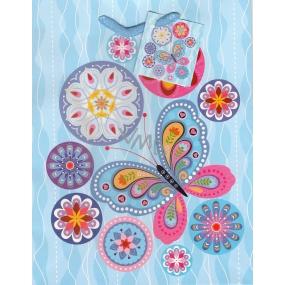 Nekupto Dárková papírová taška střední 982 40 BM modrá, květy a motýl 23 x 18 x 10 cm