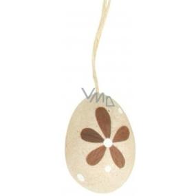 Vajíčko přírodní na zavěšení hnědý dekor puntík a hnědá kytka 6 cm