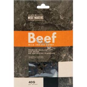 Meat Makers Beef Jerky Mild Indian Curry dochucené plátky z hovězí kýty konzervované sušením 40 g