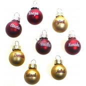 Albi Vánoční koulička červená Štěstí 2 cm