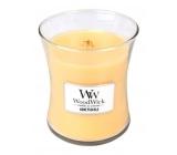 WoodWick Honeysuckle - Zimolez a jasmín vonná svíčka s dřevěným knotem a víčkem sklo malá 85 g