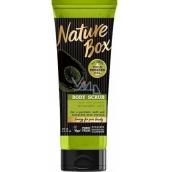 Nature Box Avokádo Regenerační tělový peeling pro dosažení hladší pokožky po jemném obroušení se 100% za studena lisovaným olejem, vhodné pro vegany 200 ml