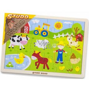 HM Studio Wood Puzzle farma 24 kusů 3+let