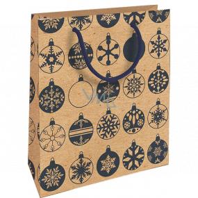 Nekupto Dárková kraftová taška 25 x 8 x 19 cm Vánoční modré baňky 589 WKHM