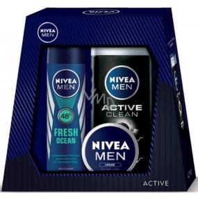 Nivea Univerzální krém pro muže 30 ml + Active Clean sprchový gel 250 ml + Fresh Ocean 48h deodorant spray pro muže 150 ml,pro muže kosmetická sada