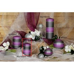 Lima Elegance Gray svíčka fialová válec 50 x 100 mm 1 kus