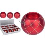 Svícen na čajovou svíčku koule Pretty sklo červená 80 mm 1 kus