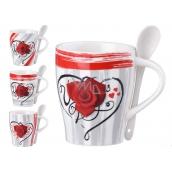Emocio Hrnek keramika Růže v srdci 340 ml, set