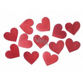 Srdce dřevěné červené 3,5 cm 12 kusů