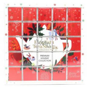 English Tea Shop Bio Adventní kalendář Puzzle červený 25 kusů bioodbouratelných pyramidek čaje, 13 příchutí, 48 g, dárková sada