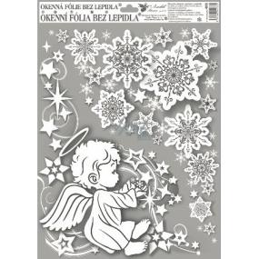 Okenní fólie bez lepidla rohová andílci s duhovými glitry kluk vlevo 42 x 30 cm