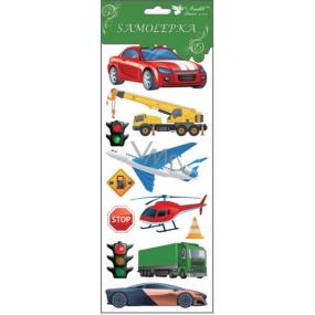 Samolepky dopravní prostředky červené auto 34,5 x 12,5 cm