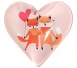 Nekupto Magnet Srdce světle růžové, lišky 4 cm