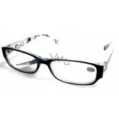 Berkeley Čtecí dioptrické brýle +2 plast černé stranice s obdelníky 1 kus MC2084