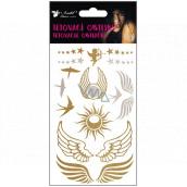 Tetovací obtisky zlaté a stříbrné křídla a vlaštovky 15 x 9 cm