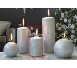 Lima Ledová stříbrná svíčka válec 70 x 100 mm 1 kus