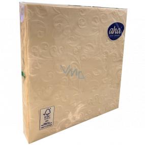 Aha Papírové ubrousky 3 vrstvé 33 x 33 cm 15 kusů Ražené šampaň