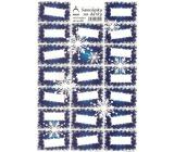 Arch Vánoční samolepky na dárky modré vločky 20 etiket 1 arch
