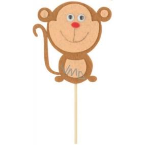 Zápich z filcu opice 8 cm + špejle