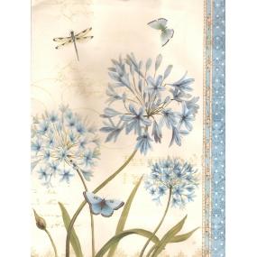 Nekupto Dárková kraftová taška střední 24 x 18 x 8 cm bílá modré květy 363 KKM