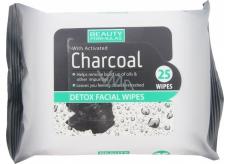 Beauty Formulas Charcoal Aktivní uhlí odličovací ubrousky 25 kusů
