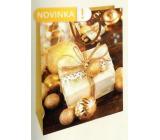 Nekupto Dárková papírová taška 32,5 x 26 x 13 cm zlatá dárek Vánoční WBL