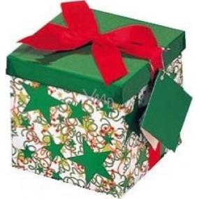 Dárková krabička s mašlí skládací vánoční bílá s červenou mašlí 1370 XS 10 x 10 x 10 cm 1 kus