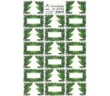 Arch Stromeček zelený vánoční samolepky na dárky 20 etiket 1 arch