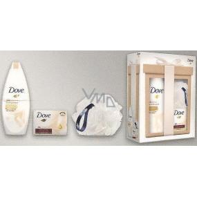 Dove Silk Silk Glow vyživující sprchový gel 250 ml + Silk Cream Oil krémová tableta 100 g + houba na mytí , kosmetická sada