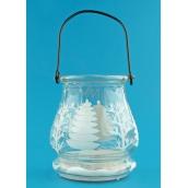 Lucerna skleněná na svíčku 9,5 cm