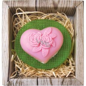 Bohemia Gifts & Cosmetics Srdce a květina ručně vyráběné toaletní mýdlo v krabičce 80 g
