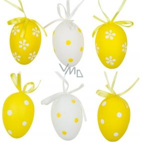 Vajíčka plastová na zavěšení bílo-žluté 6 cm 6 kusů v sáčku