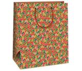 Ditipo Dárková papírová taška velká béžová, s geometrickými vzory 26,4 x 13,7 x 32,4 cm AB