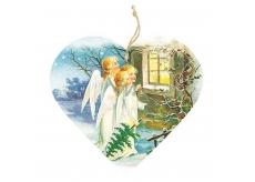 Bohemia Gifts & Cosmetics Dekorační dřevěné srdce s potiskem Tři andělé 13 cm