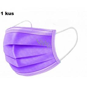 Shield Rouška 3 vrstvá ochranná zdravotní netkaná jednorázová, nízký dýchací odpor 1 kus fialová