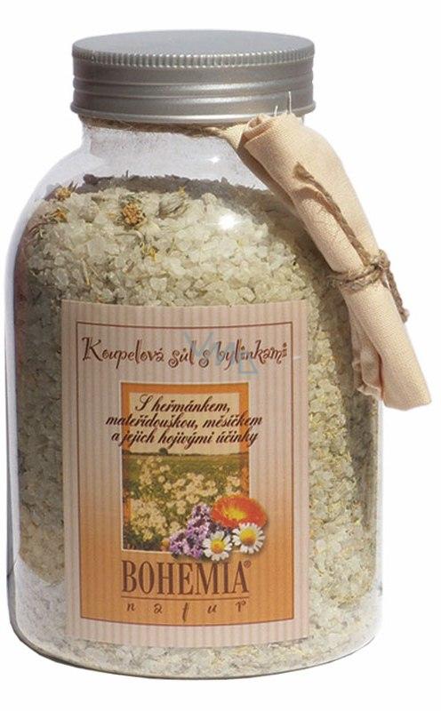 Bohemia Natur Heřmánek a mateřídouška a měsíček a jejich hojivými účinky koupelová sůl 1,2 kg