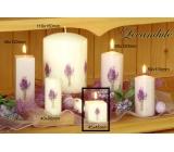 Lima Květina Levandule vonná svíčka bílá s obtiskem levandule krychle 45 x 45 mm 1 kus